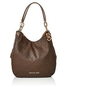 Large Chain Shoulder Tote Brown